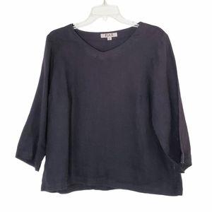 Flax Linen Lagenlook Black Top Size Small